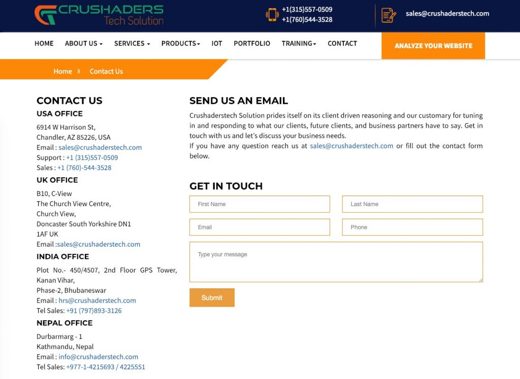 A screenshot of the Crushader Tech Solutions Contact Page.