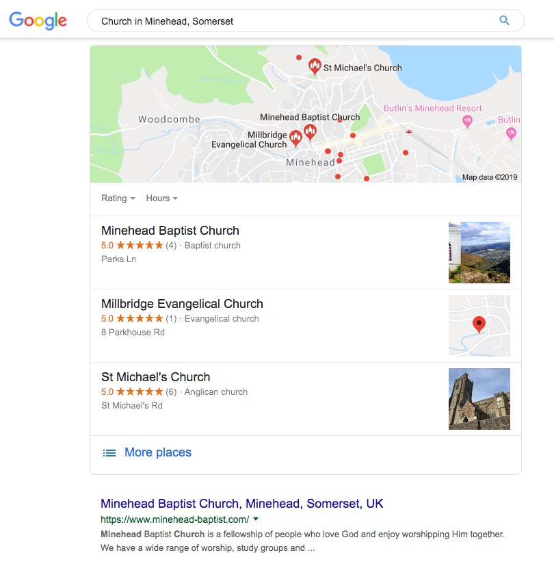 A screenshot from Google showing that the church is #1 on Google for 'Church in Minehead, Somerset'