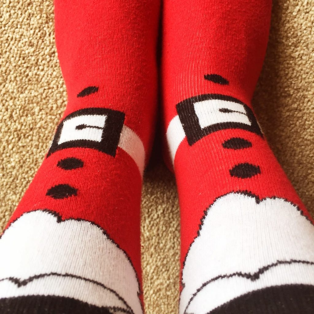 My feet in Santa socks