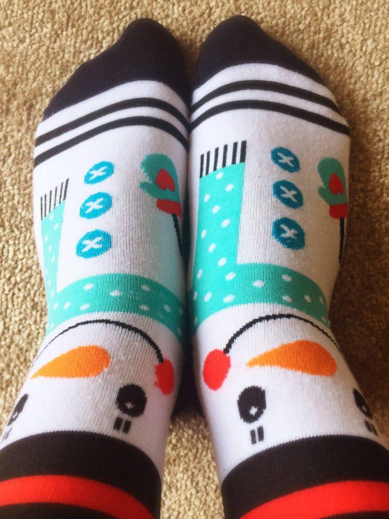 My feet in snowmen socks