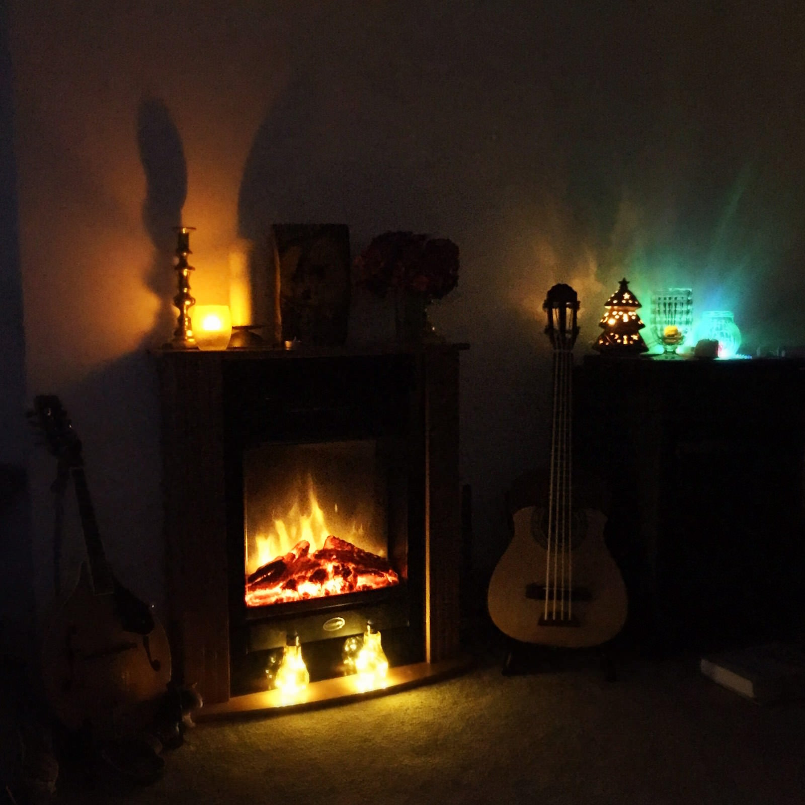 The fire place in my lounge - getting Christmassy in August!